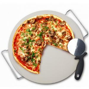 Danesco Pizza Stone with Rack & Pizza Wheel